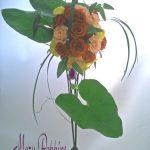 バラとアンスの葉のブーケ