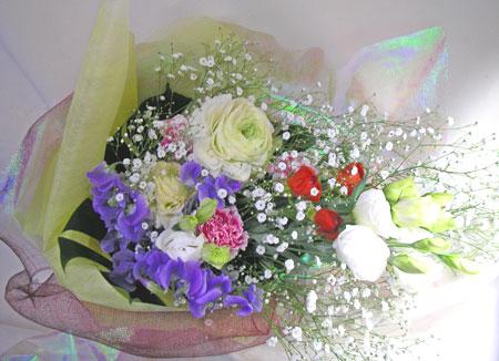 トルコキキョウとラナンキュラスの花束