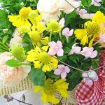 ブバルディアとヘレニウムの花束