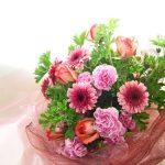 ゼラニウムとバラの花束