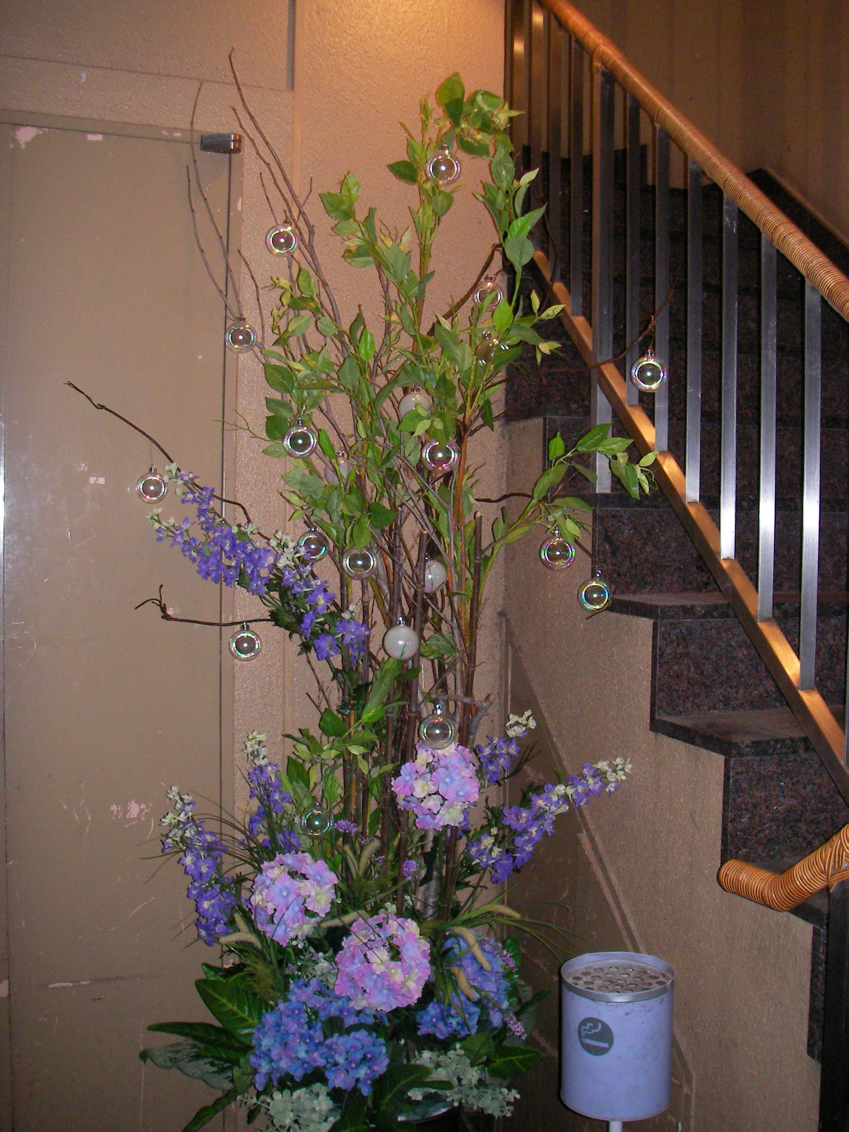 紫陽花のディスプレイ