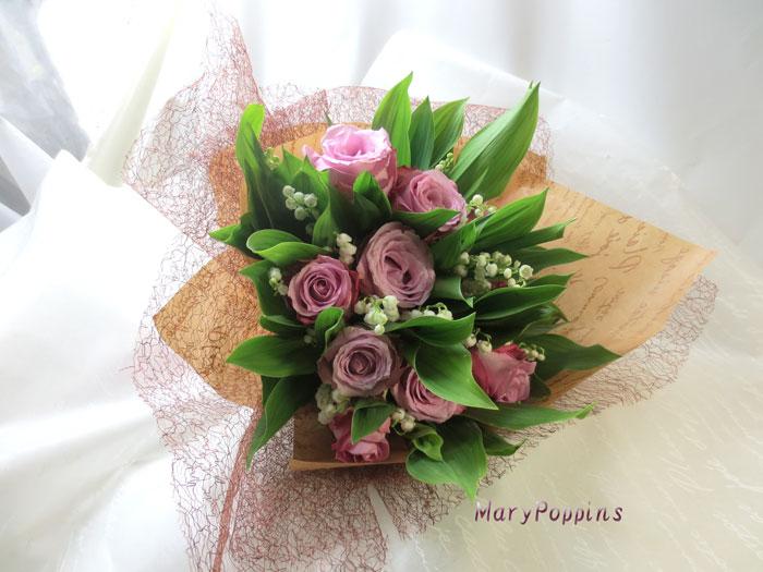 バラとスズランの花束