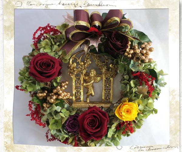 プリザーブドのバラのリース〜Angel
