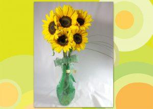 ひまわりのポット付き花束~sunny