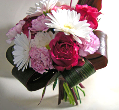バラとガーベラの花束~シフォン