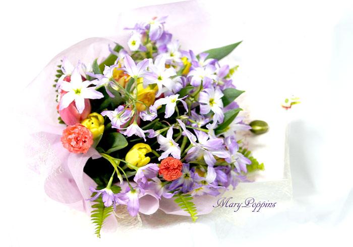 リューココリーネとポピーの花束