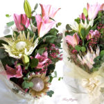 キングプロテアと百合の花束