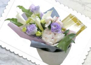 パールネックレスと花束のギフトセット
