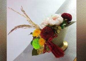 プリザーブドフラワーの菊のアレンジ〜金扇子