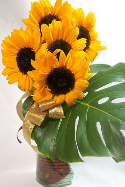 ひまわりの花瓶付き花束〜sunny