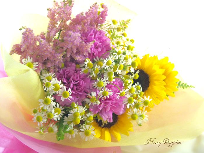 カモミールと向日葵の花束