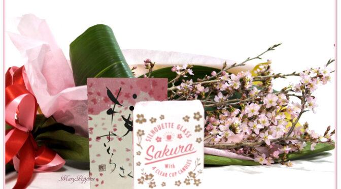 桜の花束とキャンドルのギフトセット・桜咲く