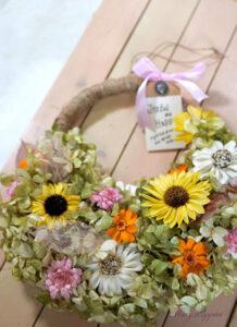 紫陽花と向日葵のリース・Summer-Memories